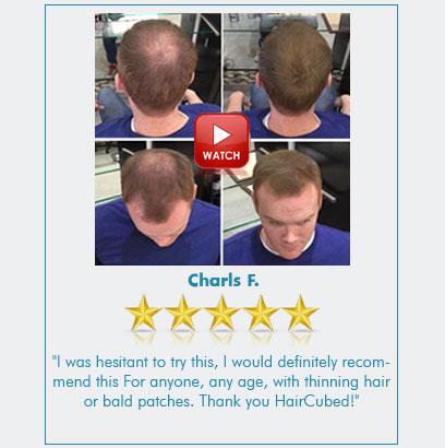 Charles apply hair fibers of haircubed spray